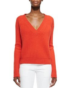 B2T0P Derek Lam Cashmere V-Neck Cable-Knit Sweater