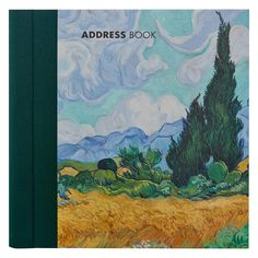 £13.99 - National Gallery Impressionist Address Book. This classic spiral bound address book features a detail from Van Gogh's A Wheatfield, with Cypresses on the cover and is finished with a #luxury book cloth spine for extra durability.  With 19 alphabetical tabs; each featuring a different #Impressionism painting from the National Gallery Collection, this beautiful address book has space for up to 24 addresses per tab. #VanGogh