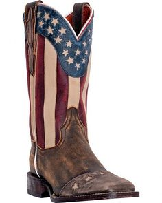 Dan Post Betsy Stars and Stripes Cowgirl Boots - Square Toe