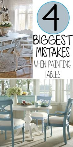 7 Common Mistakes Made Painting Kitchen Tables - Painted Furniture Ideas - Painting a kitchen or dining table isn't really much more difficult than painting any other piece of furniture. The main… Read Refurbished Furniture, Paint Furniture, Repurposed Furniture, Furniture Projects, Kitchen Furniture, Furniture Making, Furniture Makeover, Furniture Design, Furniture Stores