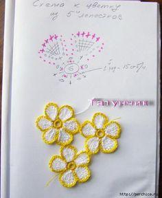 Aplique de Flores em Crochê - / Apply from Flowers under Crochet -:) Cute little flowers with crochet pattern Art Au Crochet, Crochet Diy, Thread Crochet, Irish Crochet, Crochet Stitches, Crochet Diagram, Crochet Chart, Crochet Motif, Crochet Doilies