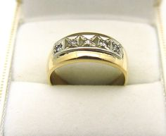 10K Yellow Gold 5 Channel Set Diamonds 0.10TDW Ring - 5.54 Grams #Diamonds #Band
