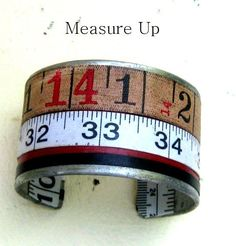 Vintage tape measure Cuff Bracelet numbers prim by lizzybleu, $30.00