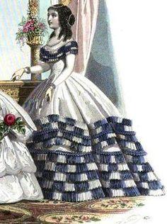 1861.  Le Moniteur de la mode.  Bi-colored pleated flounces.