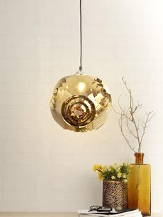 Noah Gold Pendant Lamp | Buy Luxury Hanging Lights Online India - An exquisite hanging light, the Noah has an elegant shape and design in metallic copper. This glittering metallic fixture offers beautiful ambient lighting and will brighten up your home interiors in a subtle way. Luxury Lighting, Lighting Store, Lighting Online, Room Lights, Hanging Lights, Wall Lights, Ceiling Lights, Pendant Lamps, Gold Pendant