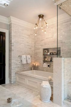Cream white ceramic tile bathroom with soaker tub | Home Decor and ...