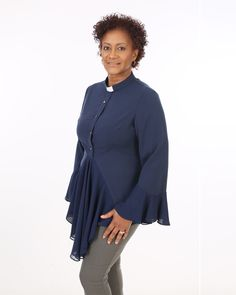 Esther Clergy Blouse Navy