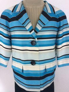 Talbots Womens Blazer sz 8 Striped Blue 3/4 Sleeves Button Up Lined Pockets K20 #Talbots #Blazer