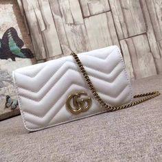 7adf2514a9e Gucci GG Marmont Leather Mini Bag 488426 White 2017  Guccihandbags Gucci  Mini Bag