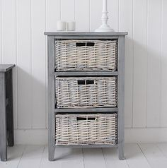 St Ives grey lamp table with no linings. A grey wooden storage unit with two grey basket willow drawers from the St Ives Country furniture Range. The St Ives range offers practical but charming storag Cane Furniture, Cottage Furniture, White Bedroom Furniture, Country Furniture, Country Decor, Furniture Ideas, Farmhouse Decor, Storage Furniture With Baskets, Basket Drawers