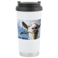 Weed Goat Travel Mug #marijuana #420 #funny #fun #animals #stoner #travelmug #goat #funnyanimals