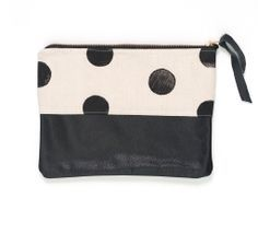 Black Hand-Stamped Polka Dot Clutch