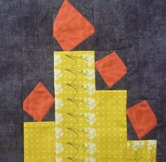 The Desperate Housewife's Quilt – Block 23 Light the Candle Yellow Candles, Desperate Housewives, Foundation Piecing, Thread Art, Orange Fabric, Yellow Pattern, Housewife, Quilt Making, Fabric Patterns