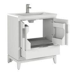 Scott Living Robinson 30-in White Single Sink Bathroom Vanity with White Acrylic Top at Lowes.com 36 Vanity, White Vanity, White Sink, Bathroom Vanity Designs, Single Sink Bathroom Vanity, Lowes Home, Modular Design, White Acrylics, Adjustable Shelving