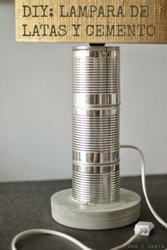 Diy tins and concrete lamp