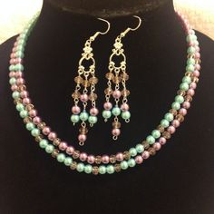 Pearls (glass) and Crystals  two strand necklace with chandelier earrings