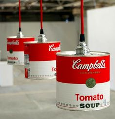 DIY Campbell Soup Lamp Shade. Modern industrial with a small nod to Andrew Warhol