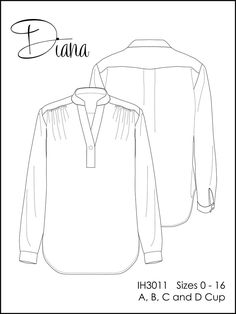uses a great method for sewing button plackets | Diana blouse pattern