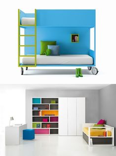 I don't know what is more eye-catching: the cool bunk bed or the beautiful bright room below.