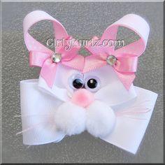 Pink Bunny Hair Bow Easter Hair Bow Bunny Hair Clip by GirlyKurlz, $7.50