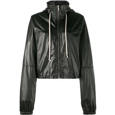 Rick Owens cropped windbreaker (2,499 CAD) ❤ liked on Polyvore featuring activewear, activewear jackets, black and rick owens