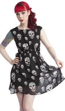 Sourpuss Chiffon Skull Dress Gothic Punk Psychobilly Vamp Metal Doom s M L XL 2X | eBay