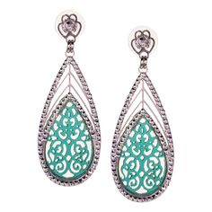JJ Caprices - Decorated Turquoise Blue Drop Earrings by LK Designs