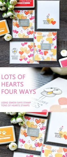 Lots of hearts - four ways! Stamp fun heart patterns and backgrounds using Simon Says Stamp Tons of Hearts stamp set. For details and video tutorial, please visit http://www.yanasmakula.com/?p=56320
