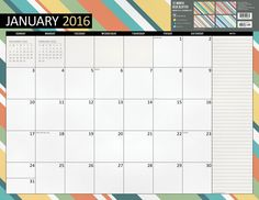 2016 Stripes 12 Month Jan-Dec 2016 Desk Blotter Calendar