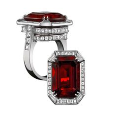 Robert Procop Exceptional Jewels - An Exceptional 11 carat Burmese Ruby Ring mounted in a geometric platinum mounting with square white diamonds. (=)
