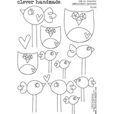 Clever Handmade   Embroidery Patterns   Rub Ons   Birds