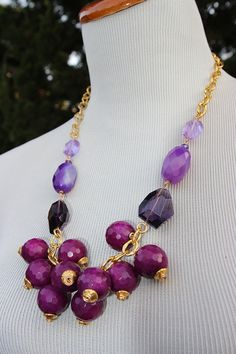 Chunky shaker cluster purple bead jade necklace jade with crystal and agate accents fall winter gold chain OOAK $54.63