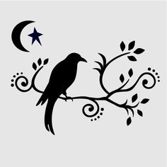 CROW STENCIL SCROLL scrolls branches templates primitive moon star stars stencils template new