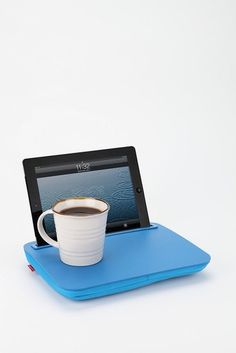 iDesk Lap Desk - I think that I like this, but that cup of coffee makes me nervous. New Gadgets, Gadgets And Gizmos, Electronics Gadgets, Cool Technology, Technology Gadgets, Lap Desk With Storage, Diy Cushion, Geek Squad, Diy Projects To Try