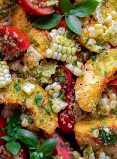 This peach tomato salad is loaded with fresh, sweet corn, drizzled in my fresh basil vinaigrette and topped with crispy toasted quinoa. So delicious, refreshing and perfect for the end of summer!