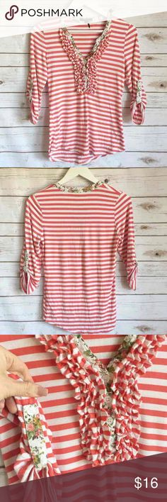 ROLLYPOLLY Striped Floral Top ROLLYPOLLY Striped Floral Top Cotton/Rayon blend Small Ruffled v-neck Thank you for looking and please check out the rest of my closet. rollypolly Tops Blouses