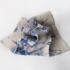 Delft design reimagined in a new design and printed on pure linen. Linen Napkins, Delft, Kitchen Stuff, Tea Towels, South Africa, Old Things, Pure Products, Printed, Pattern