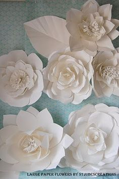 Paper flower wall group 5 flower group white or ivory lace and chanel fashion show inspired huge large paper flower wall mightylinksfo