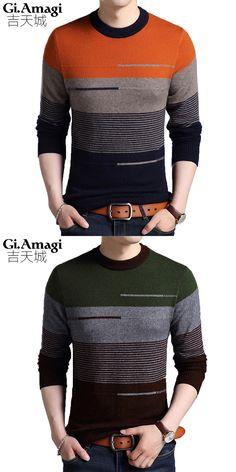 2017 New Men's Round Neck Mink Sweater Men's Sweater Fashion Hit Color Mens Striped Sweater Strickpullover Men Polo Design, Men Design, Mens Fashion Sweaters, Sweater Fashion, Mens Striped Sweater, Men Sweater, Knitwear, Fashion Outfits, Vest