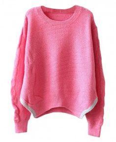 Contrast Color Vent Hem Pullover With Long Sleeves