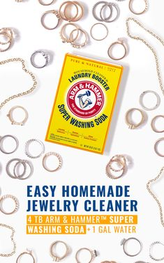 Remove  tarnish  and  make  your  jewelry  shine  with  ARM  &  HAMMER™  Super  Washing  Soda  and  a  silver  cleaning  plate.  This  easy-to-mix,  all-natural  solution  will  make  your  silver  and  gold  look  like  new.  Learn  more  about  this  natural  cleaning  tip.