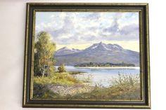 Deutscher Maler Josef Frühmesser 1927-1995  Öl auf Leinen: Am Chiemsee Abmessung ca. mit Rahmen 60 x 70 cm sichtbares Bild 48,5 x 58,5 cm