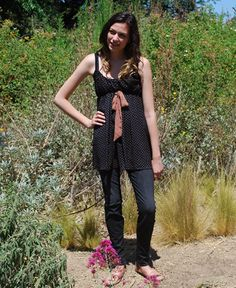 Black with Brown Polka Dot Tunic Tank with Brown Bow