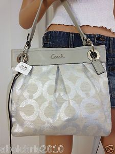 nwt coach silver signature hippie crossbody tote shoulder bag purse