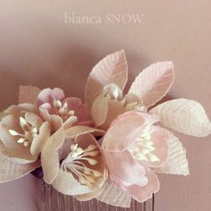 pale beige and blush blossoms, Handmade by Bianca Snow