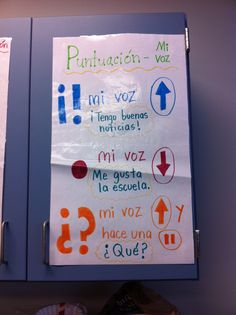 Punctuation anchor chart in Spanish. I translated this for use in my first grade classroom.