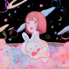 Crystal Tea - Twinkle Twinkle Little Scar (상처가 반짝반짝) Pretty Art, Cute Art, Aesthetic Art, Aesthetic Anime, Character Art, Character Design, Arte Sailor Moon, Cute Illustration, Korean Illustration