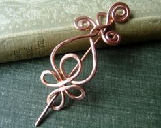 Celtic Copper Shawl Pin / Hair Pin / Sweater Brooch - Celtic Loops and Spirals -Celtic Knot-Celtic Accessory