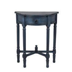 Rosalind Wheeler Baldock 1 Drawer Round End Table Finish: Antique Navy Compact Furniture, Home Decor Furniture, Accent Furniture, Furniture Making, Refinished Furniture, Furniture Design, Half Round Table, Round Accent Table, Cool Shelves
