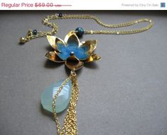 New Year SALE Blue lotus necklace  extra long by noracatherine, $55.20